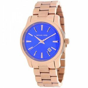 Michael Kors Runway Cobalt Rose Gold Tone Watch